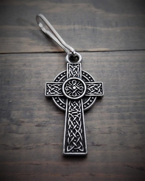 "Zipper Pull - Celtic Cross (.75"" x 1.5"")"