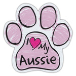 Pink Scribble Dog Paw Magnet - I Love My Aussie
