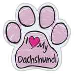 Pink Scribble Dog Paw Magnet - I Love My Dachshund