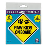 "Window Decals (2-Pack) - Paw Kids On Board (3"" x 3"")"