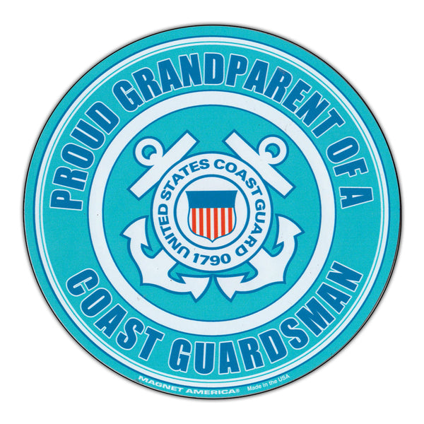 Round Magnet - Proud Grandparent U.S. Coast Guard