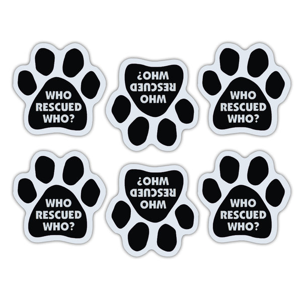"Magnet Variety Pack - Who Rescued Who? Paw Magnets, 1.75"" x 1.75"" Each"