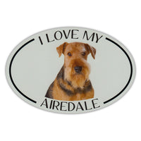 Oval Dog Magnet - I Love My Airedale