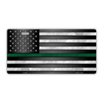 United States Flag Thin Green Line, Border Patrol Plate