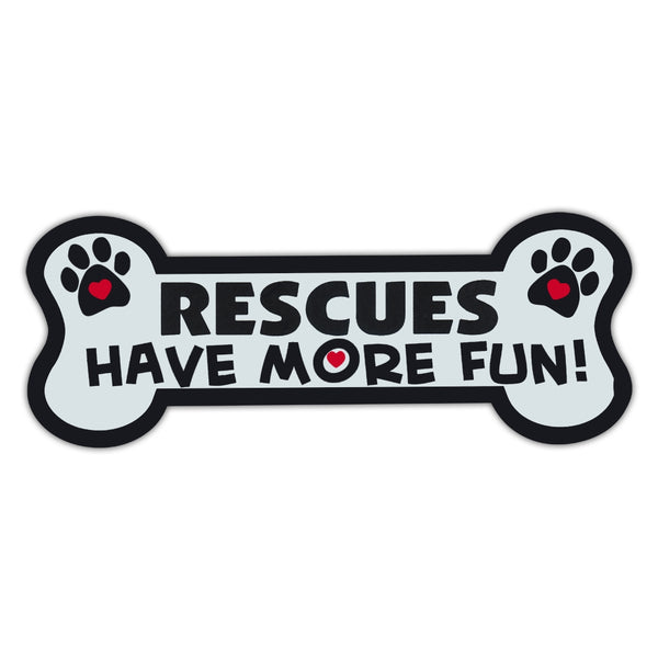 Dog Bone Magnet - Rescues Have More Fun!