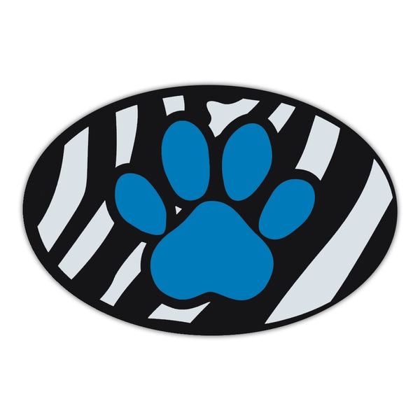 Oval Magnet - Blue Dog Paw (Zebra Stripes)