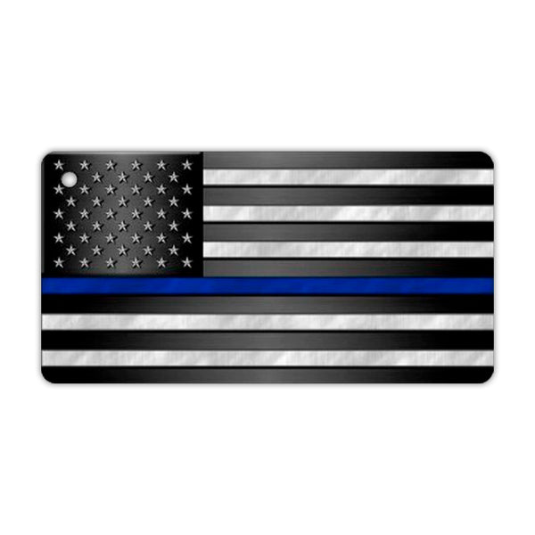 Aluminum Keychain - Thin Blue Line United States Flag (Police Department)