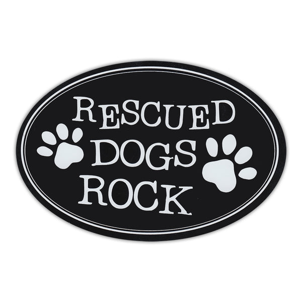 Oval Magnet - Rescued Dogs Rock