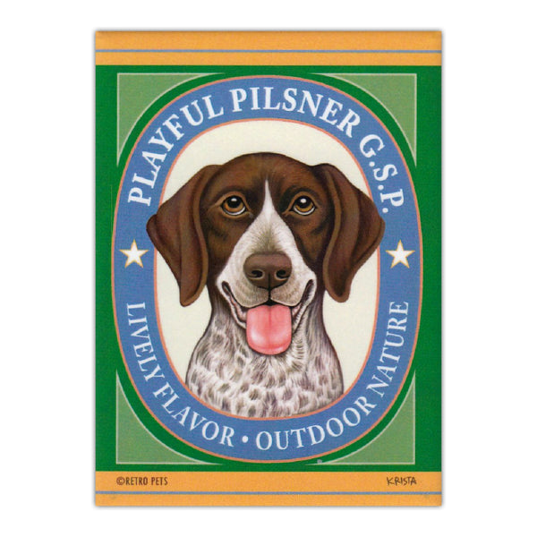 Refrigerator Magnet - Playful Pilsner, German Shorthaired Pointer