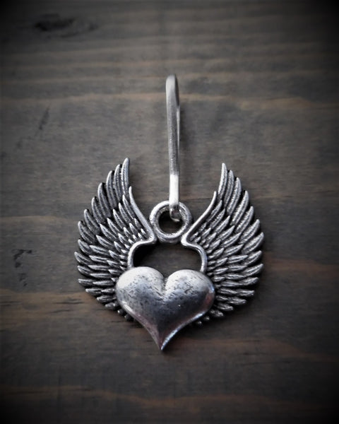 "Zipper Pull - Heart With Angel Wings (1.25"" x 1.25"")"