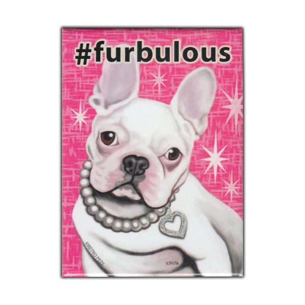 Refrigerator Magnet - Hashtag Dog Series, French Bulldog (White)