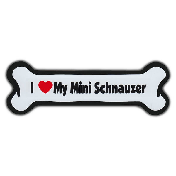 "Magnet, Dog Bone, I Love My Mini Schnauzer, 7"" x 2"""