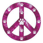 "Magnet - Peace Sign, Reddish/Purple Design w/Paws (4.75"" Round)"
