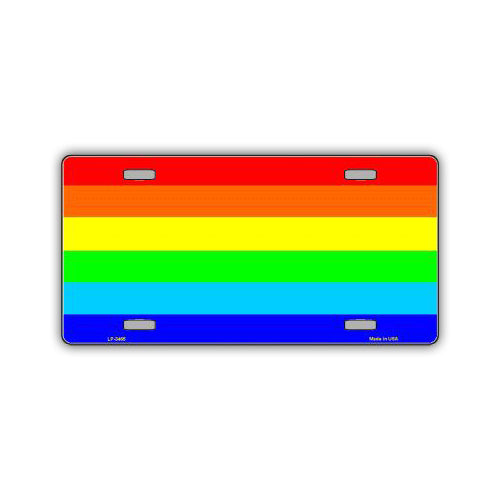 Aluminum License Plate Cover - Rainbow Pride Flag