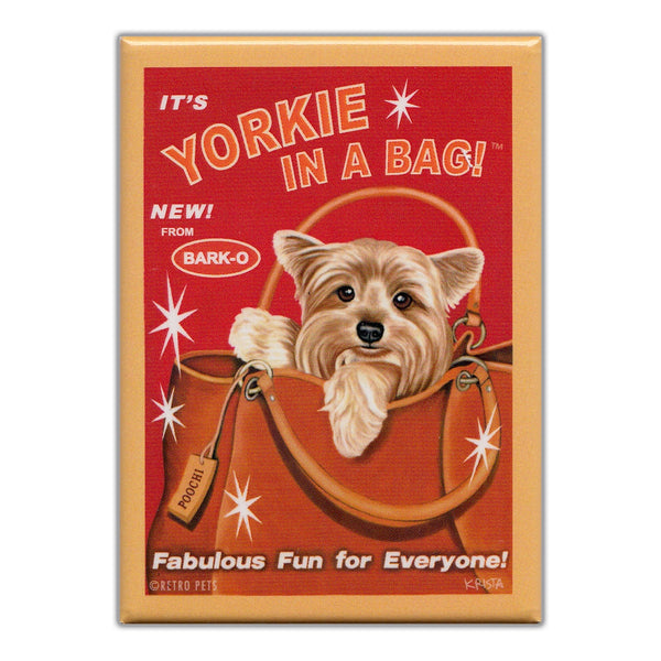 Refrigerator Magnet - Yorkie In A Bag