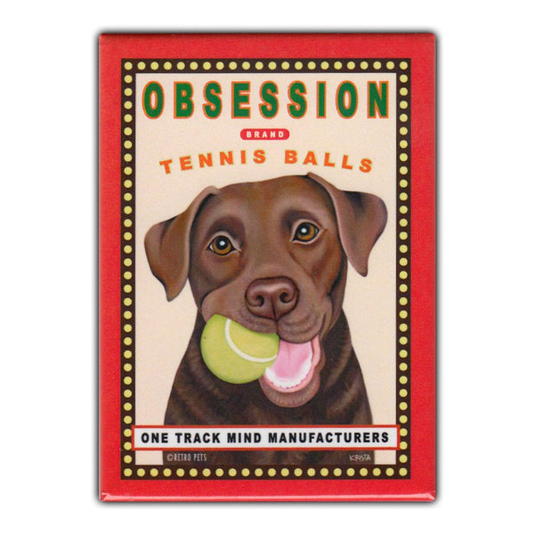Refrigerator Magnet - Obsession Tennis Balls, Chocolate Lab