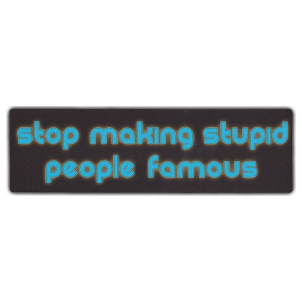 Bumper Sticker - Stop Making Stupid People Famous