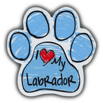 Blue Scribble Dog Paw Magnet - I Love My Labrador Retriever