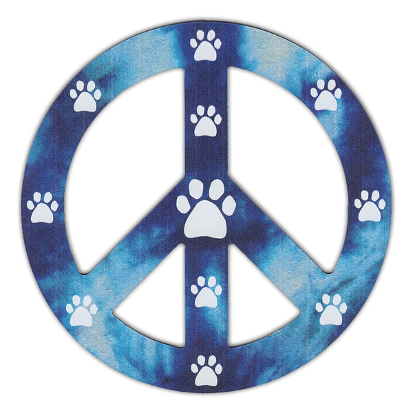"Magnet - Peace Sign, Blue Design w/Paw Prints (4.75"" Round)"