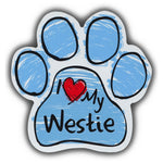 Blue Scribble Dog Paw Magnet - I Love My Westie
