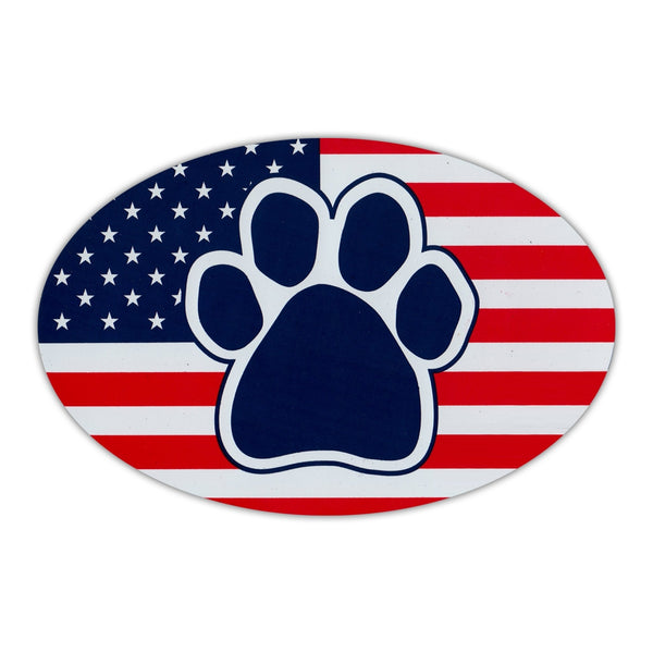 Oval Magnet - Dog Paw United States Flag