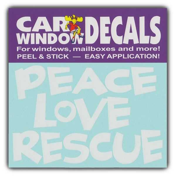 "Window Decal - Peace Love Rescue (4.5"" Wide)"