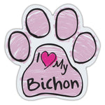 Pink Scribble Dog Paw Magnet - I Love My Bichon