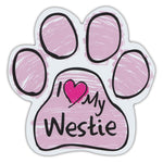 Pink Scribble Dog Paw Magnet - I Love My Westie
