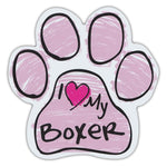 Pink Scribble Dog Paw Magnet - I Love My Boxer