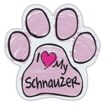 Pink Scribble Dog Paw Magnet - I Love My Schnauzer