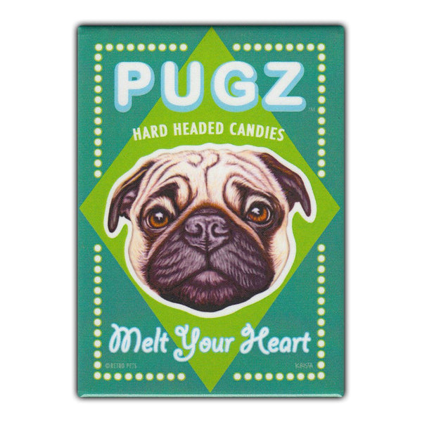 Refrigerator Magnet - Pugz Hard Headed Candies, Pug