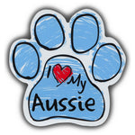 Blue Scribble Dog Paw Magnet - I Love My Aussie