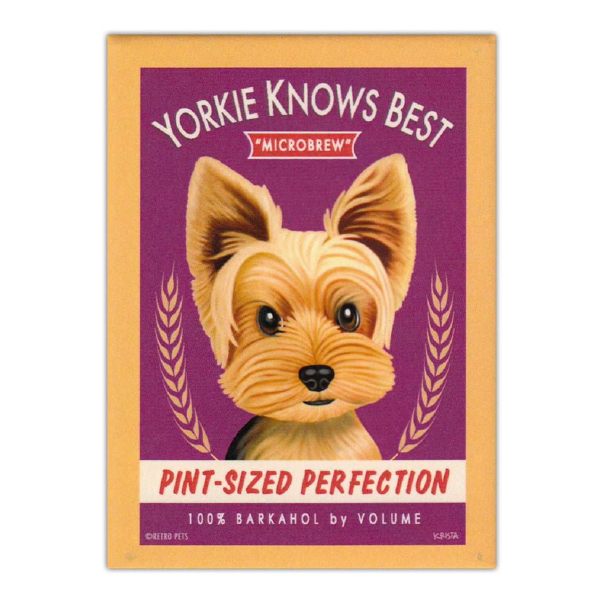 Refrigerator Magnet Yorkie Knows Best Microbrew Retro Advertisement Crazy Novelty Guy