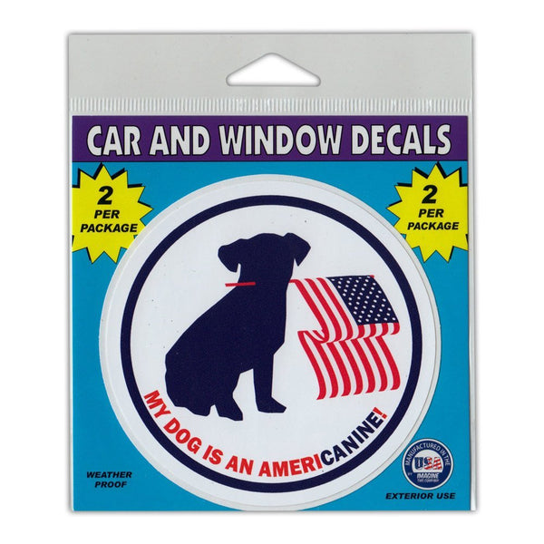 "Window Decals (2-Pack) - My Dog is an Americanine! (4"" Diameter)"