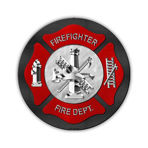 "Aluminum Metal Sign - Fire Department (12"" Round)"