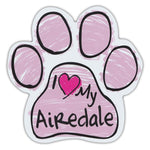 Pink Scribble Dog Paw Magnet - I Love My Airedale