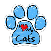 Blue Scribble Cat Paw Magnet - I Love My Cats