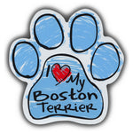 Blue Scribble Dog Paw Magnet - I Love My Boston Terrier