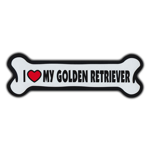 Giant Size Dog Bone Magnet - I Love My Golden Retriever