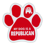 "Dog Paw Magnet - My Dog is a Republican (Red, Elephant Graphic) (5.5"" x 5.5"")"