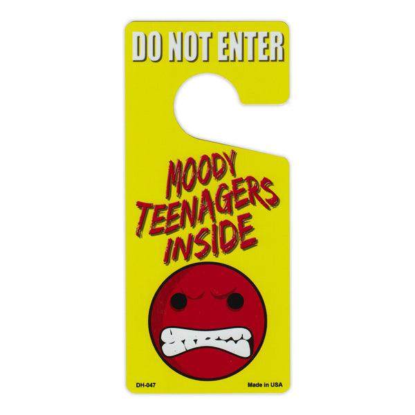 "Door Tag Hanger - Do Not Enter, Moody Teenagers Inside (4"" x 9"")"