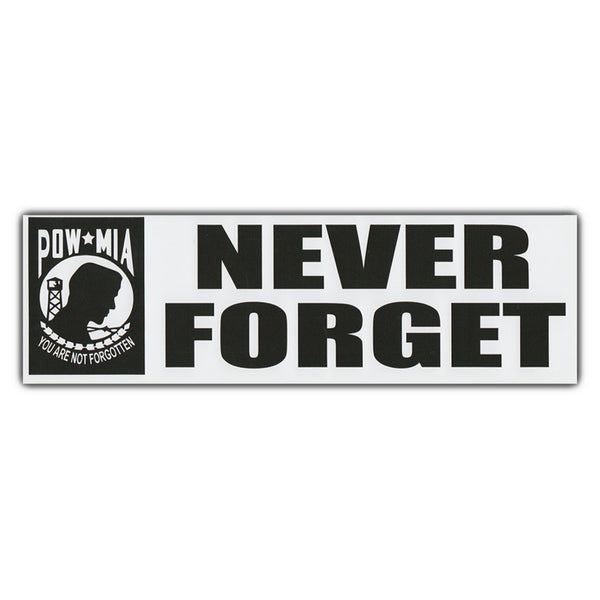 "Bumper Sticker - Never Forget, POW MIA (10"" x 3"")"