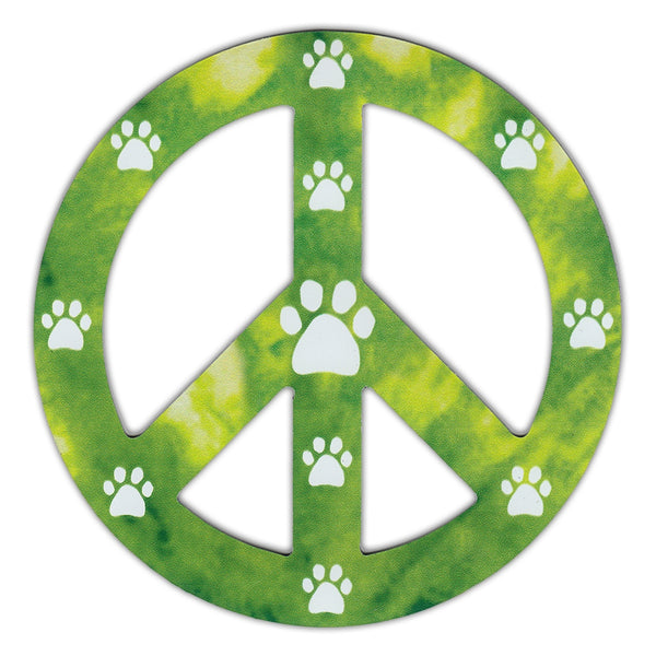"Magnet - Peace Sign, Green Design w/Paw Prints (4.75"" Round)"