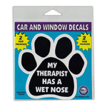 "Window Decals (2-Pack) - My Therapist Has A Wet Nose (4.25"" x 4"")"