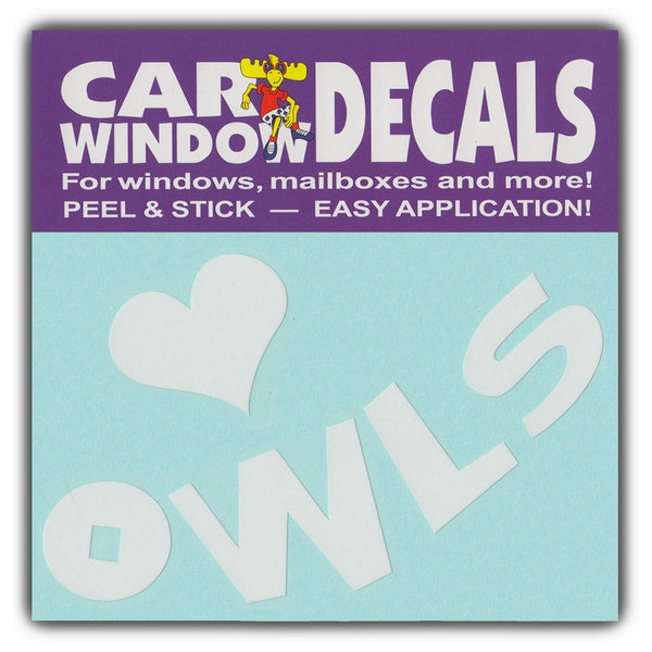 "Window Decal - I Love Owls (4.5"" Wide)"