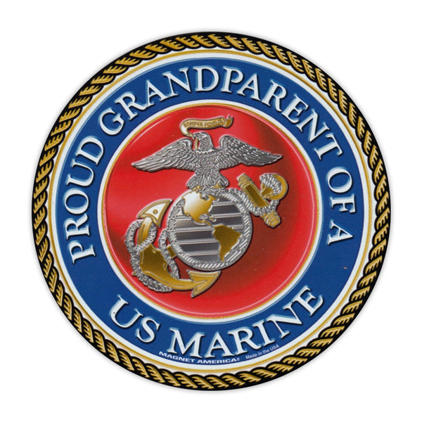 Round Magnet - Proud Grandparent of a Marine