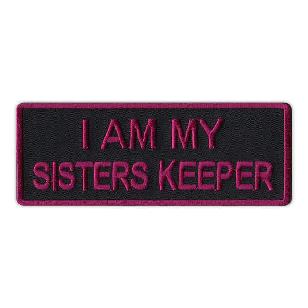 "Patch, Embroidered Patch, I Am My Sisters Keeper (Black/Purple), 4"" x 1.5"""