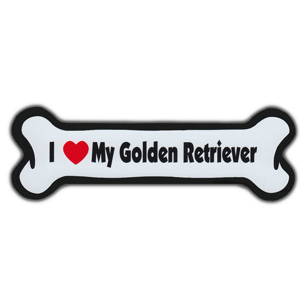 Dog Bone Magnet - I Love My Golden Retriever