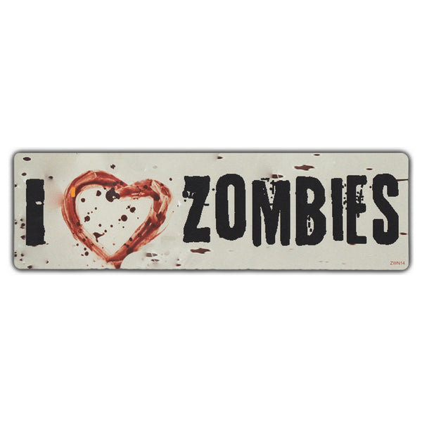 Bumper Sticker - I LOVE ZOMBIES w/Bloody Heart