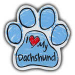 Blue Scribble Dog Paw Magnet - I Love My Dachshund